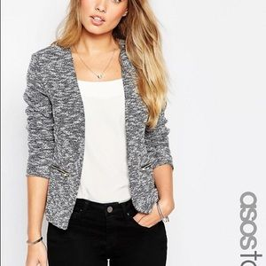 ASOS TALL Blazer with Zipper in Texture